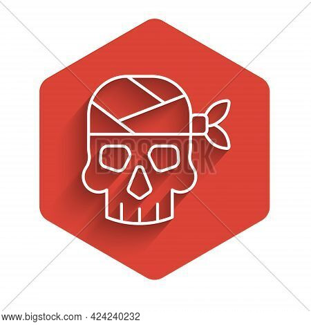 White Line Pirate Captain Icon Isolated With Long Shadow Background. Red Hexagon Button. Vector