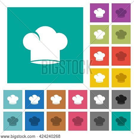 Chef Hat Multi Colored Flat Icons On Plain Square Backgrounds. Included White And Darker Icon Variat