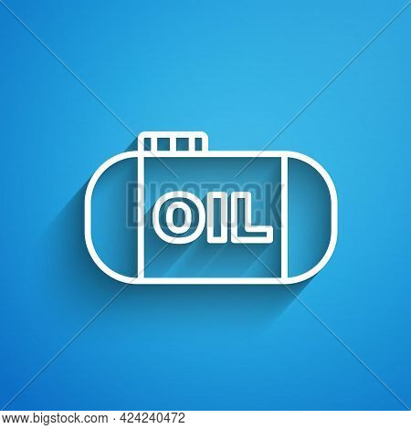 White Line Oil Tank Storage Icon Isolated On Blue Background. Vessel Tank For Oil And Gas Industrial