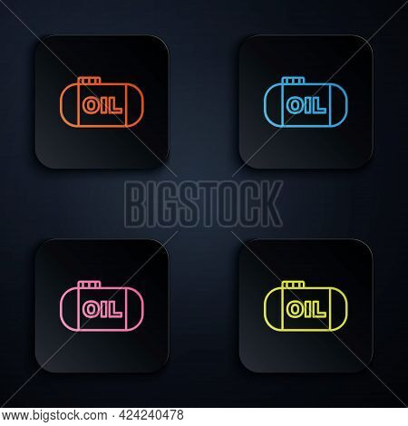 Color Neon Line Oil Tank Storage Icon Isolated On Black Background. Vessel Tank For Oil And Gas Indu