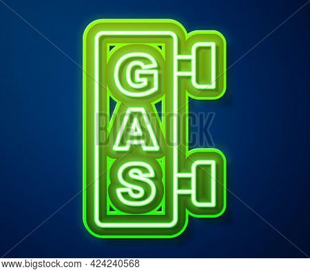 Glowing Neon Line Gas Filling Station Icon Isolated On Blue Background. Transport Related Service Bu