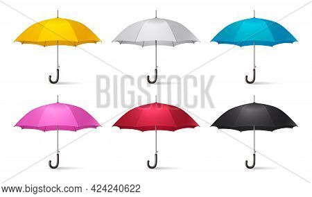 Realistic Umbrella Icon Set With Umbrellas Canes Yellow White Blue Pink Red And Black Colors Vector