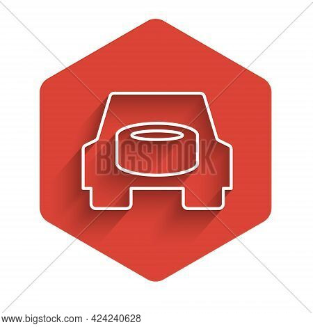 White Line Spare Wheel In The Car Icon Isolated With Long Shadow Background. Process Of Replacing Th