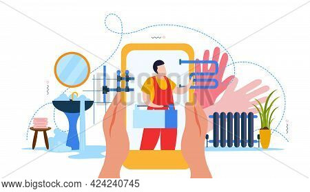 Colorful Composition In Flat Style With Broken Sink Water Pipes And Plumber On Smartphone Screen Vec