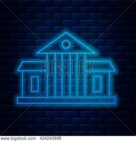 Glowing Neon Line White House Icon Isolated On Brick Wall Background. Washington Dc. Vector