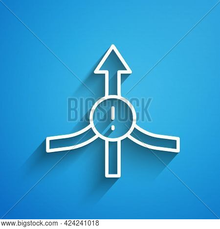 White Line Arrow Icon Isolated On Blue Background. Direction Arrowhead Symbol. Navigation Pointer Si