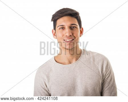 Close-up Of Handsome Young Man Smiling In Studio Shot