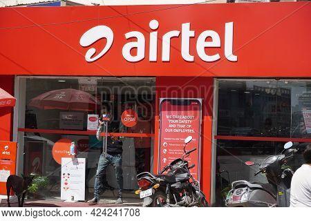 Bharti Airtel Shop Front. Airtel Distributor Storefront. Udaipur India - May 2020 Riy
