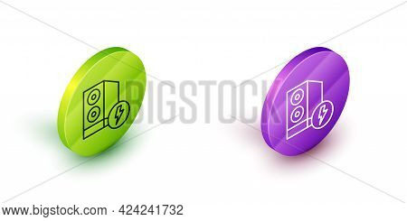 Isometric Line Case Of Computer Icon Isolated On White Background. Computer Server. Workstation. Gre
