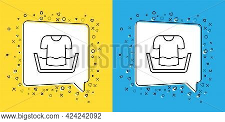 Set Line Plastic Basin With Shirt Icon Isolated On Yellow And Blue Background. Bowl With Water. Wash