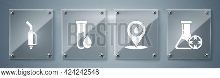 Set Antifreeze Test Tube, Refill Petrol Fuel Location, Oil Petrol Test Tube And Gasoline Pump Nozzle