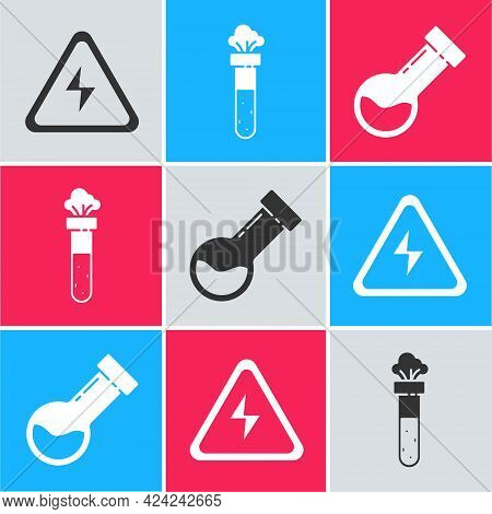 Set High Voltage Sign, Test Tube And Flask Chemical And Test Tube And Flask Chemical Icon. Vector