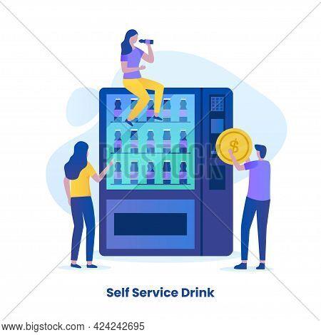 Self Ordering Drink Service Illustration Concept