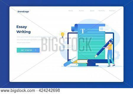 Essay Writing Illustration Landing Page Concept
