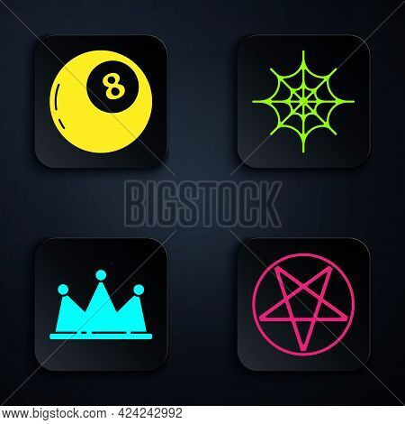 Set Pentagram In A Circle, Magic Ball Of Predictions, Crown And Spider Web. Black Square Button. Vec