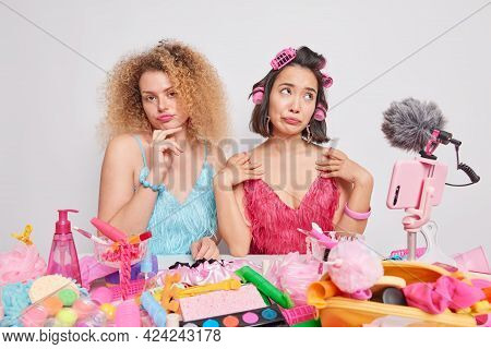 Indoor Female Vloggers Wear Festive Clothes Surrounded By Beauty Products Prepare For Date Make Live
