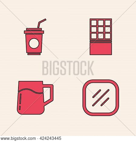 Set Steak Meat, Paper Glass With Straw, Chocolate Bar And Wooden Beer Mug Icon. Vector