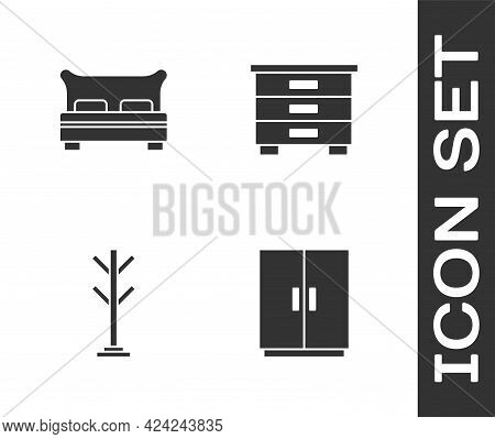 Set Wardrobe, Big Bed, Coat Stand And Furniture Nightstand Icon. Vector