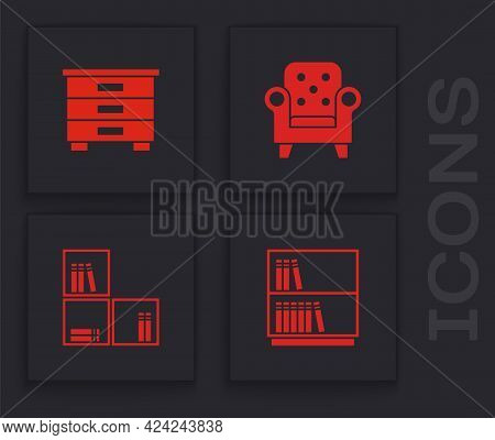 Set Library Bookshelf, Furniture Nightstand, Armchair And Shelf With Icon. Vector