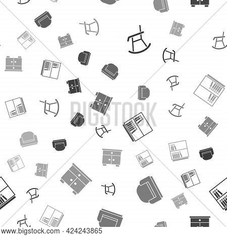 Set Armchair, , Library Bookshelf And Furniture Nightstand On Seamless Pattern. Vector