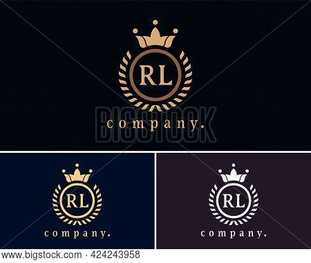 Letter Rl, R Or, L Laurel Wreath Template Logo With A Crown. A Beautiful Symbol For Emblem, Logo, Ca
