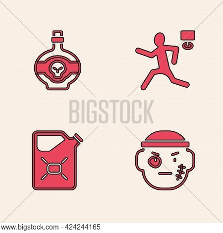 Set Bandit, Poison In Bottle, Murder And Canister Fuel Icon. Vector