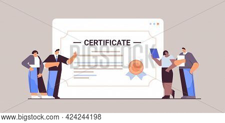 Graduated Businesspeople Near Huge Certificate Graduates Celebrating Academic Diploma Degree Corpora