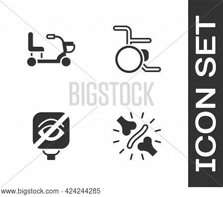 Set Joint Pain, Knee Pain, Electric Wheelchair, Blindness And Wheelchair Icon. Vector