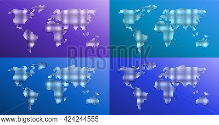 Dotted World Map Color Gradient Vector Illustration In Four Colors. Purple, Blue, Cyan, Turquoise