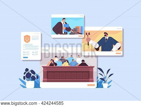 Law Process With Judge Jury Suspect And Lawyer Or Attorney In Web Browser Windows Online Court Sessi