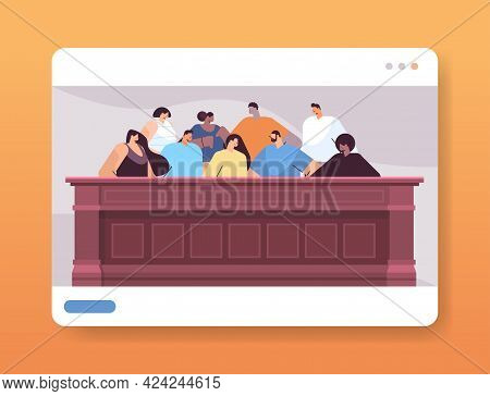 Mix Race Jurors Sitting In Jury Box Law Court Trial Session Online Judging Process Concept Courtroom