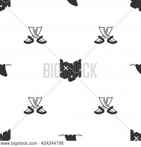 Set Shark Fin In Ocean Wave, Pirate Treasure Map And Crossed Pirate Swords On Seamless Pattern. Vect