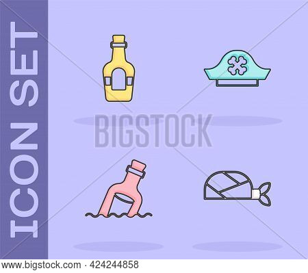 Set Pirate Bandana For Head, Alcohol Drink Rum, Bottle With Message Water And Hat Icon. Vector