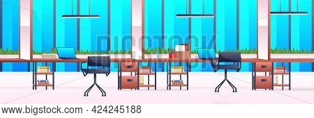 Creative Workplace Modern Open Space Empty Nobody Office Interior Contemporary Co-working Center