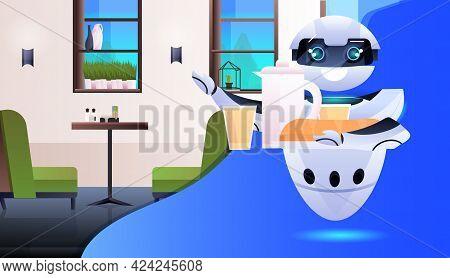 Modern Robot Waiter Serving Food In Restaurant Artificial Intelligence Technology Concept