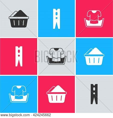 Set Basin With Soap Suds, Clothes Pin And Shirt Icon. Vector