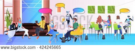 Robots And Mix Race People In Masks Sitting In Cafe Chat Bubble Communication Artificial Intelligenc