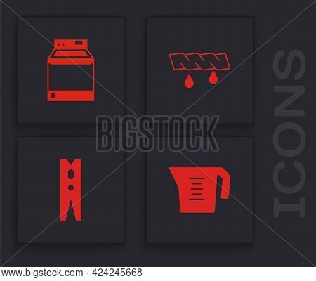 Set Measuring Cup, Washer, Squeeze Clothes And Clothes Pin Icon. Vector
