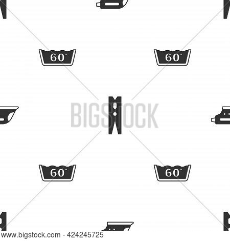 Set Electric Iron, Clothes Pin And Temperature Wash On Seamless Pattern. Vector