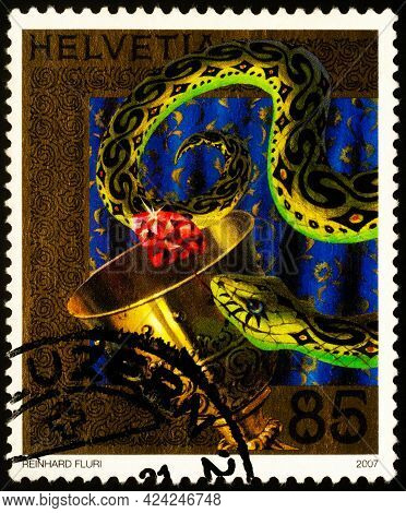 Moscow, Russia - June 20, 2021: Stamp Printed In Switzerland Shows Scene From Legend Of Charlemagne