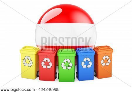Waste Recycling In Austria. Colored Recycling Bins With Austrian Flag, 3d Rendering Isolated On Whit