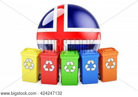 Waste Recycling In Iceland. Colored Recycling Bins With Icelandic Flag, 3d Rendering Isolated On Whi