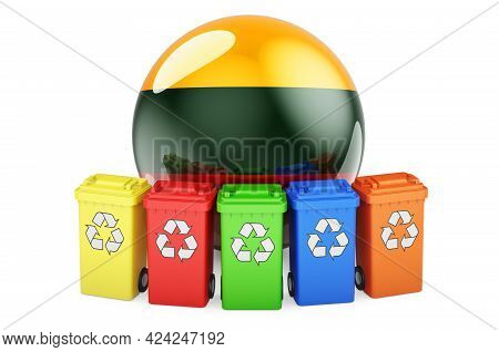 Waste Recycling In Lithuania. Colored Recycling Bins With Lithuanian Flag, 3d Rendering Isolated On