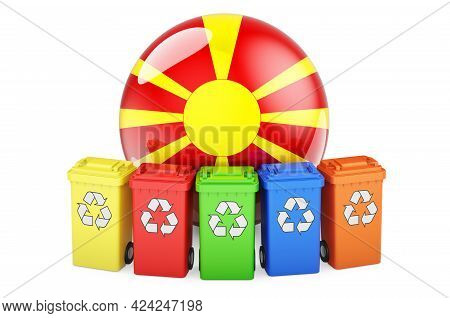 Waste Recycling In Macedonia. Colored Recycling Bins With Macedonian Flag, 3d Rendering Isolated On