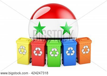 Waste Recycling In Syria. Colored Recycling Bins With Syrian Flag, 3d Rendering Isolated On White Ba