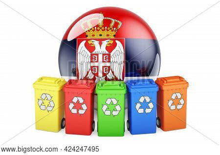 Waste Recycling In Serbia. Colored Recycling Bins With Serbian Flag, 3d Rendering Isolated On White