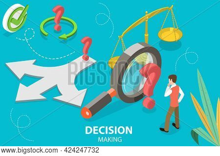 3d Isometric Flat Vector Conceptual Illustration Of Decision Making, Choosing The Right Solution