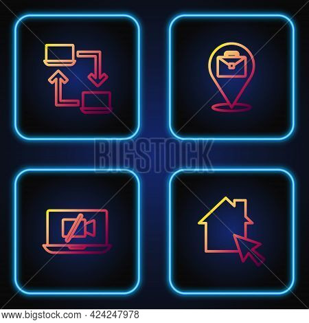 Set Line Online Working, Video Camera Off On Laptop, And . Gradient Color Icons. Vector