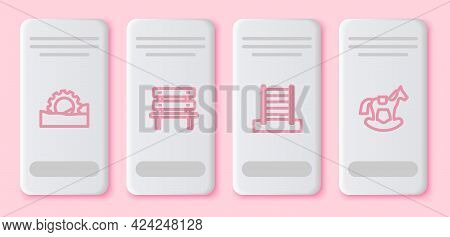 Set Line Ferris Wheel, Bench, Swedish Wall And Horse In Saddle Swing. White Rectangle Button. Vector
