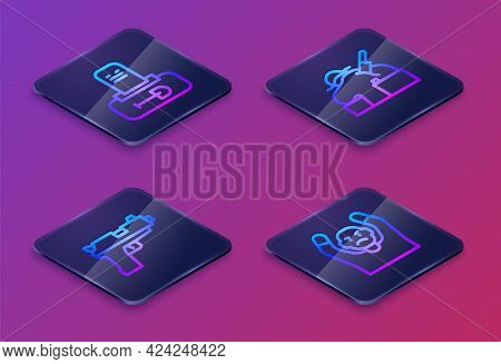 Set Isometric Line Grave With Tombstone, Pistol Or Gun, Murder And Thief Surrendering Hands Up. Blue